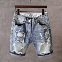 Jeans Youth fashion Others M,L,XL,2XL,3XL blue routine Micro bomb Regular denim Pant Other leisure summer teenagers middle-waisted Fitting straight tube tide Little straight foot zipper Water wash, snow wash printing Water wash, hole cotton