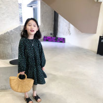 Dress black female Send sauce 5(90),7(100),9(110),11(120),13(130),15(140),17(150) Other 100% spring and autumn Korean version Long sleeves Broken flowers cotton A-line skirt Class B Seven, eight, three, six, two, five, four, ten, nine Chinese Mainland