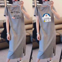Dress Summer 2021 M L XL 2XL 3XL Mid length dress singleton  Short sleeve commute Crew neck Cartoon animation Socket One pace skirt other 25-29 years old Type H Yiqi literature More than 95% polyester fiber Polyester 95% polyurethane elastic fiber (spandex) 5% Pure e-commerce (online only)