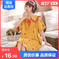 Nightdress Mesufen M L XL XXL XXXL Sweet Short sleeve pajamas summer Cartoon animation youth Crew neck cotton printing 21% (inclusive) - 40% (inclusive) Knitted cotton fabric MS21131 Spring 2021 Polyester 65% cotton 35% Same model in shopping mall (sold online and offline)