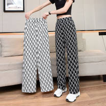 Casual pants Wide leg trousers white letter wide leg trousers black letter wide leg trousers wave wide leg trousers thousand bird pattern Average size (80-150 kg) Spring 2021 trousers Wide leg pants High waist Other styles Thin money 25-29 years old 91% (inclusive) - 95% (inclusive) FLH5520 belt