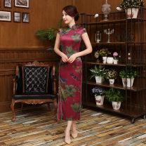 cheongsam Summer 2016 M,L,XL,XXL,XXXL,XXXXL Dark red Short sleeve long cheongsam Retro High slit banquet Round lapel other TH357 Taihu beauty acrylic fibres 81% (inclusive) - 90% (inclusive)