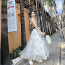 skirt Spring of 2019 Mid length dress Natural waist Type A Q001 Gauze Pure e-commerce (online only)