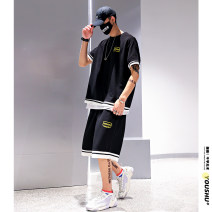 Leisure sports suit summer M,L,XL,2XL,3XL,4XL,5XL Black, white Short sleeve Other / other Pant teenagers T-shirt 2020