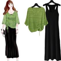 Dress Spring 2020 Green top + black skirt, pink top + black skirt, beibai Top + black skirt, yellow top + black skirt M [80-100 Jin], l [100-115 Jin], XL [115-130 Jin], XXL [130-145 Jin], XXXL [145-160 Jin] longuette Two piece set Hollowing out