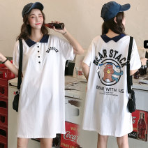 T-shirt White, black, blue M,L,XL,2XL Summer 2021 Short sleeve Polo collar easy Medium length routine Sweet cotton 96% and above youth Cartoon, animation, solid color, letters Printing, three dimensional decoration college