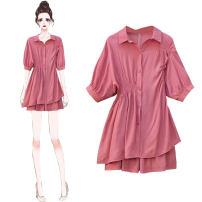 Women's large Summer 2020 Pink suit, black suit, white suit S [recommended 80-95 kg], m [recommended 95-105 kg], l [recommended 105-120 kg], XL [recommended 120-140 kg], 2XL [recommended 140-160 kg], 3XL [recommended 160-180 kg], 4XL [recommended 180-200 kg] Other oversize styles Two piece set easy