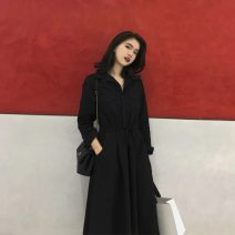 Dress Autumn of 2018 black S,M,L,XL longuette singleton  commute V-neck High waist Solid color A button A-line skirt 25-29 years old Type A literature bow polyester fiber