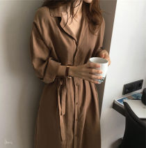 Dress Autumn of 2019 Navy, Caramel S,M,L,XL Mid length dress singleton  three quarter sleeve commute Polo collar High waist Solid color other Big swing routine Others Type A Retro
