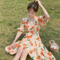 Dress Summer of 2019 Decor S,M,L,XL Middle-skirt singleton  Short sleeve Sweet V-neck High waist Decor Socket A-line skirt bishop sleeve Others Type A Other / other Mori