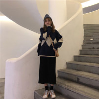 Fashion suit Autumn of 2019 S,M,L,XL Blue sweater + black skirt, apricot sweater + coffee skirt 18-25 years old Other / other
