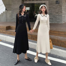 Dress Autumn of 2019 Apricot, black S,M,L,XL Mid length dress singleton  Long sleeves commute Doll Collar High waist Socket Pleated skirt routine Others 18-24 years old Korean version knitting other