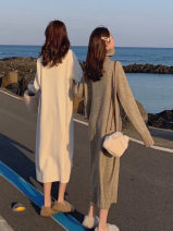 Dress Autumn of 2019 S,M,L Mid length dress singleton  Long sleeves commute High collar High waist Solid color Socket A-line skirt routine Others 25-29 years old Type A Other / other Korean version 31% (inclusive) - 50% (inclusive) cotton