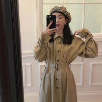 Dress Autumn of 2019 Khaki dress S,M,L,XL Mid length dress singleton  Long sleeves commute Polo collar High waist Solid color Single breasted A-line skirt routine Others 18-24 years old Type A Korean version Lace up, button other