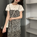 Dress Summer 2021 black Average size Mid length dress singleton  Sleeveless Sweet Loose waist Decor Socket other other camisole 18-24 years old Type H printing 51% (inclusive) - 70% (inclusive) Chiffon