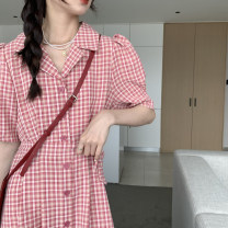 Dress High waist Type A Summer 2021 Korean version Medium length skirt singleton  Short sleeve commute lattice tailored collar Single breasted A-line skirt 18-24 years old puff sleeve 51% (inclusive) - 70% (inclusive) polyester fiber Other other S,M