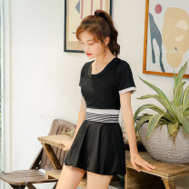 one piece  Zhuo Haozi M [80-95 Jin] l [95-110 Jin] XL [110-120 Jin] 2XL [120-140 Jin] 3XL [140-155 Jin] black Skirt one piece With chest pad without steel support Spandex polyester others Summer of 2018 no female Short sleeve Casual swimsuit