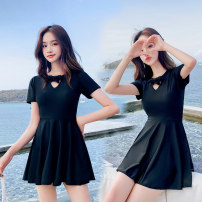 one piece  Zhuo Haozi Skirt one piece With chest pad without steel support Spandex polyester others Summer of 2019 no female Short sleeve Casual swimsuit Lotus leaf edge