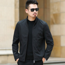 Jacket Cool light Business gentleman 170/M 175/L 180/XL 185/2XL 190/3XL 195/4XL routine standard Other leisure autumn Polyester 100% Long sleeves Wear out stand collar Business Casual middle age routine Zipper placket Cloth hem washing Loose cuff Solid color Summer 2020 Side seam pocket