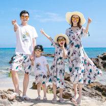 Parent child fashion Feather printing A family of three Women and men Yuehai Yuebei NDM42 summer princess Thin money other skirt L M S XL NDM42 Class B M L XL XXL Summer 2020 Chinese Mainland