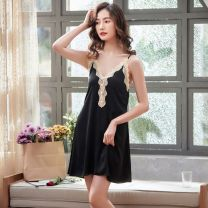 Pajamas / housewear set female M L XL XXL Polyester (polyester) Sleeveless Leisure home summer V-neck Socket youth one-piece garment More than 95% silk printing Other 100% Spring 2020 Pure e-commerce (online only) Middle-skirt no