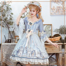 Dress Autumn 2020 OP skirt + bow * 2 + veil hat (one size) S M L XL XXL XXXL Mid length dress Three piece set three quarter sleeve Sweet Crew neck middle-waisted Abstract pattern Socket Princess Dress Petal sleeve Others 18-24 years old Type X Cherry love L20F200154 More than 95% Chiffon Bohemia
