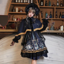 Dress Winter of 2019 Neckwear + gloves + dress + skirt BNT hat Cape S M L XL XXL XXXL Mid length dress Long sleeves commute Crew neck middle-waisted Abstract pattern other Princess Dress other Others 18-24 years old Cherry love Retro L20K190115 More than 95% organza  polyester fiber Polyester 100%