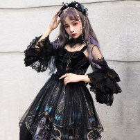 Dress Winter of 2019 Full set of OP skirt (OP skirt + headdress + neckwear + veil) S M L XL XXL XXXL Mid length dress Long sleeves square neck middle-waisted Abstract pattern other Ruffle Skirt puff sleeve Others 18-24 years old Type A Cherry love L20H190106 More than 95% Chiffon polyester fiber