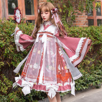 Dress Winter of 2019 S M L XL XXL XXXL Mid length dress Long sleeves Sweet Double collar High waist Abstract pattern other other pagoda sleeve Others 18-24 years old Type A Cherry love More than 95% Chiffon polyester fiber Polyester 100% solar system