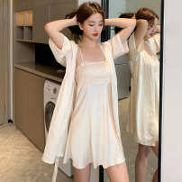 Nightdress Ayane / ayana 160(M) 165(L) 170(XL) luxurious camisole pajamas Short skirt summer Solid color youth One word collar Polyester (polyester) Embroidery More than 95% silk Spring 2021 Polyester 96% polyurethane elastic fiber (spandex) 4% Pure e-commerce (online only)