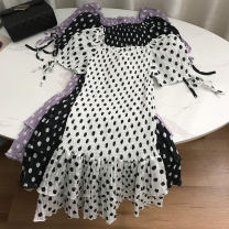 Dress Spring 2021 White 2, black 1, purple 3 Average size Mid length dress singleton  Short sleeve commute middle-waisted Solid color Socket One pace skirt routine 18-24 years old Korean version SS111540 30% and below other cotton
