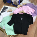 shirt White 5, pink 1, black 2, green 4, purple 3 Average size Summer 2021 cotton 30% and below Short sleeve commute Regular Crew neck Single row multi button routine Solid color 18-24 years old Straight cylinder Korean version SS112160 cotton