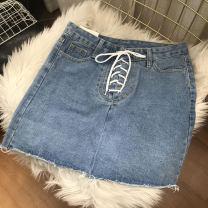 skirt 40g / m ^ 2 and below Summer 2021 Short skirt 30% and below High waist cotton A-line skirt commute Solid color 18-24 years old GD100062 Korean version S,M,L,XL blue