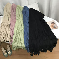 skirt Spring 2021 Average size Pink purple 5 , Apricot 1 , Green 4 , Blue 3 , Black 2 Mid length dress commute Natural waist Solid color Type H 18-24 years old SH309920 30% and below other cotton Korean version 40g / m ^ 2 and below