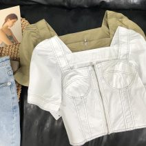 shirt Green 1, white 2 S, M Summer 2020 cotton 30% and below Short sleeve commute Regular One word collar zipper routine Solid color 18-24 years old Straight cylinder Korean version SH306447 cotton