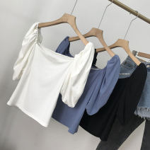 shirt White 2, black 3, blue 1 S, M Summer 2021 cotton 30% and below elbow sleeve commute Regular Socket routine 18-24 years old Straight cylinder Korean version SH312542 cotton