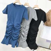 Dress Summer 2020 Blue 2, gray 1, black 3 Average size Mid length dress singleton  Short sleeve commute Crew neck middle-waisted Solid color Socket One pace skirt routine Others 18-24 years old Korean version SH306594 30% and below other cotton