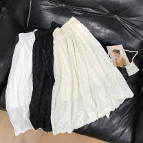 skirt Spring 2021 Average size Apricot, black, white Mid length dress commute Natural waist Solid color Type H 18-24 years old SH309933 30% and below other cotton Korean version 40g / m ^ 2 and below