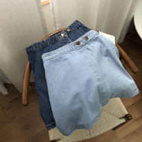 skirt Spring 2021 XS,S,L,XL Blue 2, light blue 1 Short skirt commute High waist A-line skirt Solid color 18-24 years old SH311959 30% and below Denim cotton Korean version 40g / m ^ 2 and below