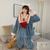 Pajamas / housewear set female Other / other Average size S28 suit, T21 nightdress acrylic fibres Long sleeves Sweet Leisure home autumn routine Big lapel trousers Socket youth 2 pieces rubber string 61% (inclusive) - 80% (inclusive) O59283