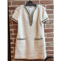 Dress Spring of 2019 white Short skirt singleton  Sleeveless V-neck Loose waist Solid color other other other 25-29 years old Type H SANDRO R20455E More than 95% cotton