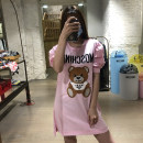 Dress Spring 2021 Pink, black 38,40,42,44,46 Short skirt singleton  elbow sleeve Crew neck Loose waist Solid color Socket other routine 25-29 years old Type H MOSCHINO / MOSCHINO More than 95% other cotton