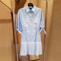 Dress Spring 2021 wathet 38,40,42,44,46 Short skirt singleton  Short sleeve square neck middle-waisted Solid color Socket other other 25-29 years old Type H PINKO 1U1244 More than 95% other other