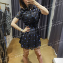 Dress Winter 2020 black 38,40,42,44 Short skirt singleton  Short sleeve Sweet V-neck Elastic waist Dot Socket A-line skirt routine 25-29 years old Type A Ad Portas 2V1NE372 More than 95% other polyester fiber princess
