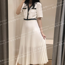 Dress Spring 2020 34,36,38,40 Mid length dress singleton  Short sleeve commute V-neck middle-waisted Pleated skirt routine Others 25-29 years old Type A SANDRO Simplicity More than 95% polyester fiber