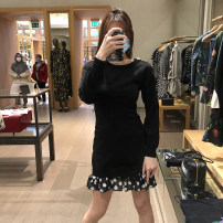 Dress Spring 2021 black 38,40,42,44,46 longuette singleton  Long sleeves Crew neck Loose waist Solid color Socket other routine 25-29 years old Type H MOSCHINO / MOSCHINO A0484 More than 95% other cotton