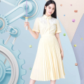Dress Summer of 2019 Bright yellow, blue, bright yellow, Hong Kong 1,2,3,4 Mid length dress singleton  Short sleeve commute stand collar High waist Solid color Socket other other Others Type A MAJE lady Sticking cloth e19rivers More than 95% polyester fiber