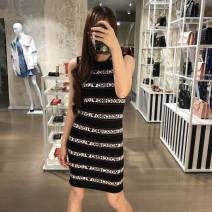Dress Spring 2021 black and white 38,40,42,44,46 Middle-skirt singleton  Sweet Crew neck Loose waist Socket other routine 25-29 years old Type H MOSCHINO / MOSCHINO MZ1250113 More than 95% cotton college