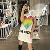 Dress Spring 2021 White, black 38,40,42,44,46 Short skirt singleton  Long sleeves Crew neck Loose waist Solid color Socket other routine 25-29 years old Type H love MOSCHINO CZ1280536 More than 95% knitting cotton