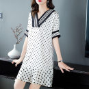 Dress Summer 2021 White, black S,M,L,XL Middle-skirt singleton  elbow sleeve Sweet V-neck Loose waist other Socket A-line skirt routine Others 40-49 years old weiweimei Printing, splicing More than 95% other other